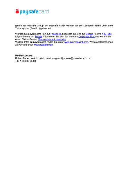 paysafecard auf der gamescom 2016, Seite 2/2, komplettes Dokument unter http://boerse-social.com/static/uploads/file_1552_paysafecard_auf_der_gamescom_2016.pdf (02.08.2016)