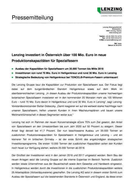 Lenzing investiert in Österreich über 100 Mio. Euro, Seite 1/2, komplettes Dokument unter http://boerse-social.com/static/uploads/file_1554_lenzing_investiert_in_osterreich_uber_100_mio_euro.pdf (02.08.2016)