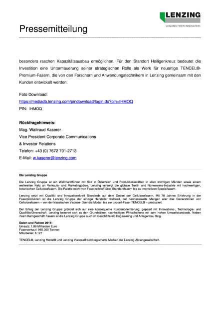 Lenzing investiert in Österreich über 100 Mio. Euro, Seite 2/2, komplettes Dokument unter http://boerse-social.com/static/uploads/file_1554_lenzing_investiert_in_osterreich_uber_100_mio_euro.pdf (02.08.2016)