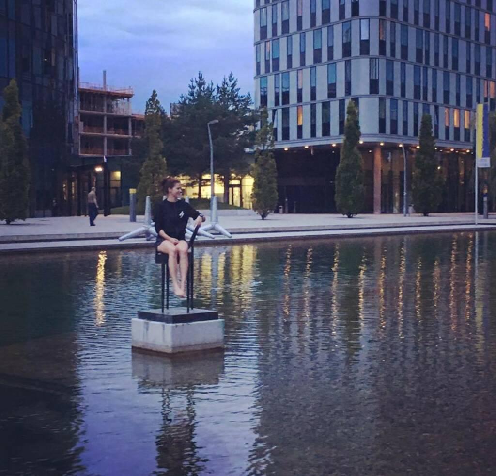 Ausblick Corinna Choun WU - habe mir heute den schönsten Platz ausgesucht– hier: WU (Wirtschaftsuniversität Wien). (03.08.2016)
