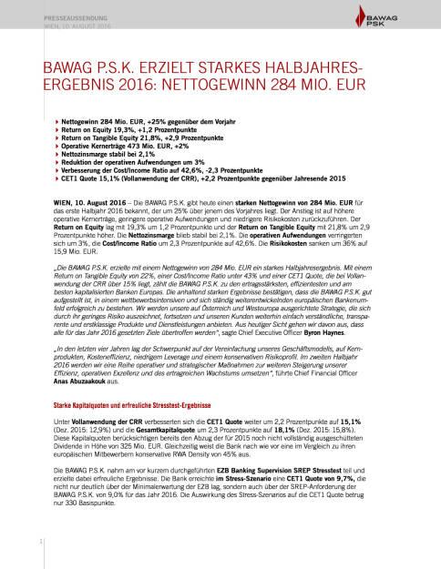 Bawag P.S.K. Halbjahresergebnis, Seite 1/10, komplettes Dokument unter http://boerse-social.com/static/uploads/file_1597_bawag_psk_halbjahresergebnis.pdf (10.08.2016)