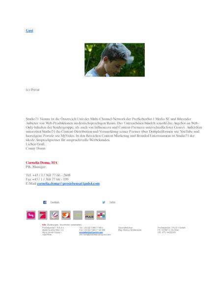 Studio71 Vienna nimmt 'Gusi' unter Vertrag, Seite 2/2, komplettes Dokument unter http://boerse-social.com/static/uploads/file_1598_studio71_vienna_nimmt_gusi_unter_vertrag.pdf (10.08.2016)
