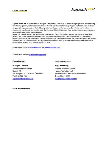 Kapsch TrafficCom AG : Hans Lang ist neuer Investor Relations & Compliance Officer, Seite 2/2, komplettes Dokument unter http://boerse-social.com/static/uploads/file_1622_kapsch_trafficcom_ag_hans_lang_ist_neuer_investor_relations_compliance_officer.pdf (16.08.2016)