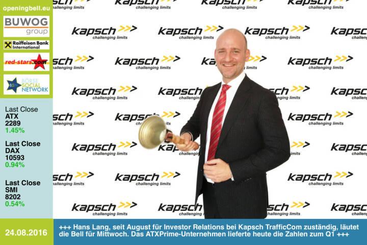 #openingbell am 24.8.: Hans Lang, seit Anfang August für Investor Relations bei Kapsch TrafficCom zuständig, läutet die Opening Bell für Mittwoch. Das ATXPrime-Unternehmen lieferte heute die Zahlen zum Q1 https://www.kapsch.net/ktc http://www.openingbell.eu