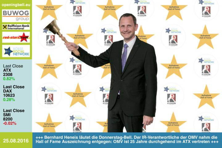 #openingbell am 25.8.: Bernhard Heneis läutet die Opening Bell für Donnerstag. Der IR-Verantwortliche der OMV nahm die Hall of Fame Auszeichnung entgegen: OMV ist 25 Jahre durchgehend im ATX vertreten, siehe http://www.boerse-social.com/hall-of-fame http://www.omv.com