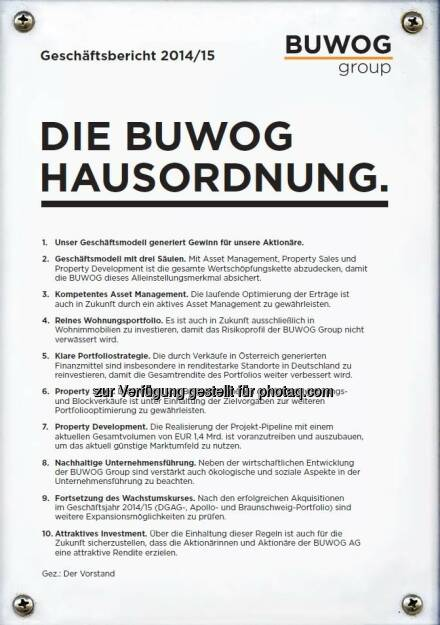 """Cover Buwog-Geschäftbericht : Zweimal Gold für Buwog-Geschäftsbericht : Internationale Auszeichnung ARC Award : Erfolgreich in den Kategorien """"Traditional Annual Report"""" und """"Cover Photo/Design"""" für """"Buwog-Hausordnung"""" : Fotocredit: Buwog, © Aussendung (25.08.2016)"""