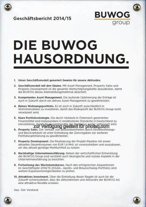 """Cover Buwog-Geschäftbericht : Zweimal Gold für Buwog-Geschäftsbericht : Internationale Auszeichnung ARC Award : Erfolgreich in den Kategorien """"Traditional Annual Report"""" und """"Cover Photo/Design"""" für """"Buwog-Hausordnung"""" : Fotocredit: Buwog"""
