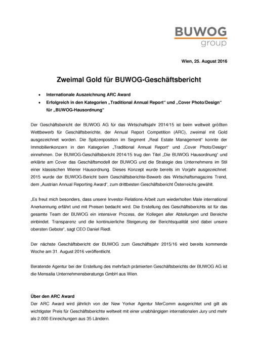 Buwog: Zweimal Gold für Geschäftsbericht, Seite 1/2, komplettes Dokument unter http://boerse-social.com/static/uploads/file_1675_buwog_zweimal_gold_fur_geschaftsbericht.pdf