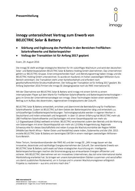 RWE: innogy unterzeichnet Vertrag zum Erwerb von Belectric Solar & Battery, Seite 1/2, komplettes Dokument unter http://boerse-social.com/static/uploads/file_1682_rwe_innogy_unterzeichnet_vertrag_zum_erwerb_von_belectric_solar_battery.pdf