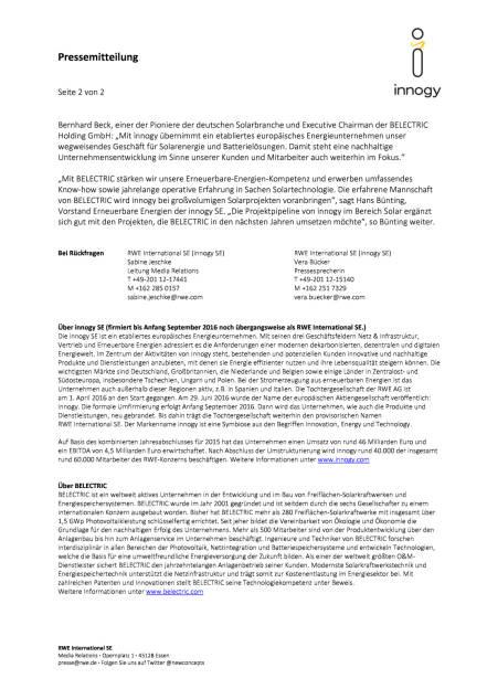RWE: innogy unterzeichnet Vertrag zum Erwerb von Belectric Solar & Battery, Seite 2/2, komplettes Dokument unter http://boerse-social.com/static/uploads/file_1682_rwe_innogy_unterzeichnet_vertrag_zum_erwerb_von_belectric_solar_battery.pdf