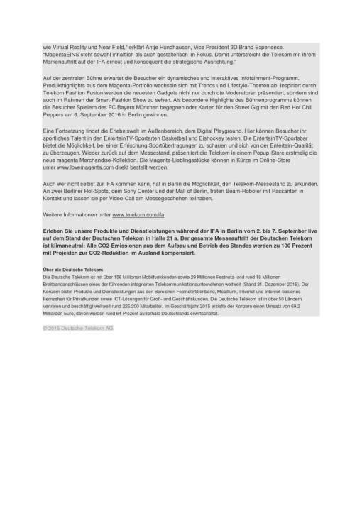 deutsche telekom ifa 2016 seite 2 2 komplettes dokument unter http boerse. Black Bedroom Furniture Sets. Home Design Ideas
