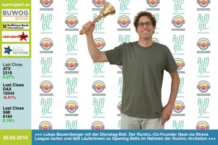 #openingbell am 30.8.: Lukas Bauernberger mit der Opening Bell für Dienstag. Der RunInc.-Co-Founder und Mitarbeiter der WACHAUmarathon GmbH lässt via Strava League sporteln und lädt LäuferInnen zu Opening Bells im Rahmen der RunInc.-Invitation  http://www.runinc.at http://www.openingbell.eu http://www.runinc.at/2016/08/25/runinc-strava-league/ http://www.wachaumarathon.com