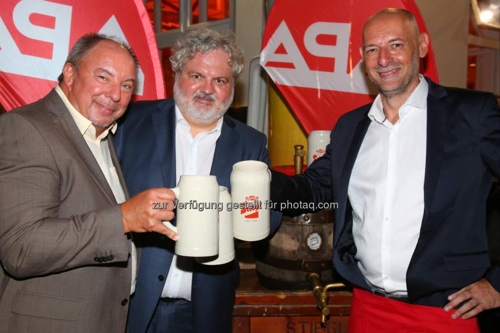Werner Müllner, Johannes Bruckenberger und Marcus Hebein (stellvertretende APA-Chefredakteure), © APA-Fotoservice/Ludwig Schedl (30.08.2016)