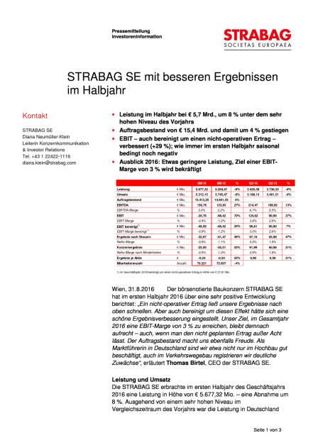 Strabag SE mit besseren Ergebnissen im Halbjahr, Seite 1/3, komplettes Dokument unter http://boerse-social.com/static/uploads/file_1691_strabag_se_mit_besseren_ergebnissen_im_halbjahr.pdf (31.08.2016)