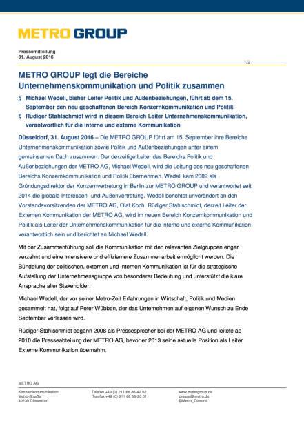 Metro AG: Konzernkommunikation und Politik, Seite 1/2, komplettes Dokument unter http://boerse-social.com/static/uploads/file_1696_metro_ag_konzernkommunikation_und_politik.pdf (31.08.2016)