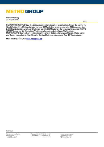 Metro AG: Konzernkommunikation und Politik, Seite 2/2, komplettes Dokument unter http://boerse-social.com/static/uploads/file_1696_metro_ag_konzernkommunikation_und_politik.pdf (31.08.2016)