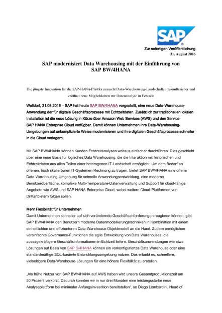 SAP modernisiert Data Warehousing, Seite 1/4, komplettes Dokument unter http://boerse-social.com/static/uploads/file_1697_sap_modernisiert_data_warehousing.pdf (31.08.2016)