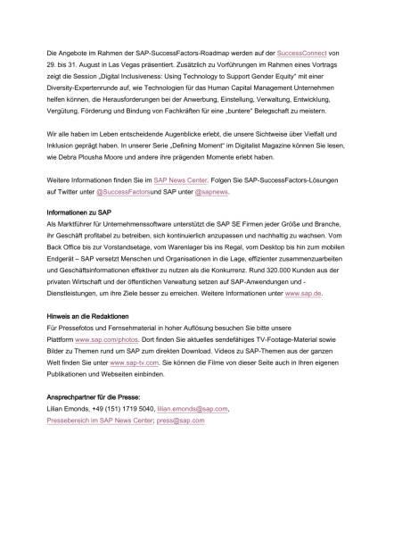 SAP SuccessFactors fördert Vielfalt im Unternehmen, Seite 3/3, komplettes Dokument unter http://boerse-social.com/static/uploads/file_1698_sap_successfactors_fordert_vielfalt_im_unternehmen.pdf (31.08.2016)