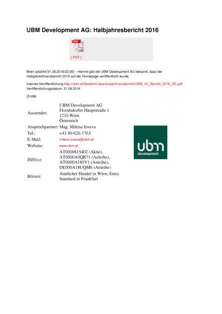 UBM Development AG: Halbjahresbericht 2016, Seite 1/1, komplettes Dokument unter http://boerse-social.com/static/uploads/file_1701_ubm_development_ag_halbjahresbericht_2016.pdf (01.09.2016)