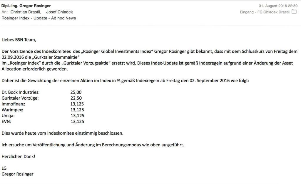 Indexevent Rosinger-Index 13: Gurktaler Vzg. ersetzt Gurktaler Stamm  (04.09.2016)