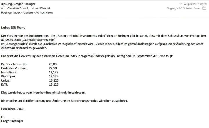 Indexevent Rosinger-Index 13: Gurktaler Vzg. ersetzt Gurktaler Stamm