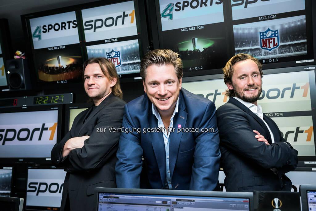 """Mario Lenz (4 Sports), Michael Stix (Geschäftsführung ProSiebenSat.1 Puls 4), Bastian Gangnus (Leitung Sportvermarktung Crossmedia / ProSiebenSat.1 Puls 4) : ProSiebenSat.1 Puls 4-Gruppe mit neuer Unit """"4 Sports"""" und neuem TV-Sender und Vermarktung des österreichischen Werbefensters des Free-TV Senders Sport1 HD, der im 1. Quartal 2017 startet : Fotocredit (c) Jörg Klickermann, © Aussendung (08.09.2016)"""