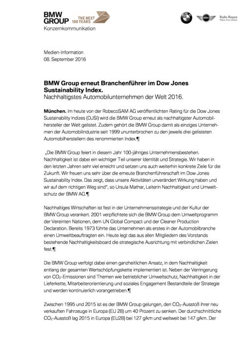 BMW Group erneut Branchenführer im Dow Jones Sustainability Index, Seite 1/3, komplettes Dokument unter http://boerse-social.com/static/uploads/file_1747_bmw_group_erneut_branchenfuhrer_im_dow_jones_sustainability_index.pdf