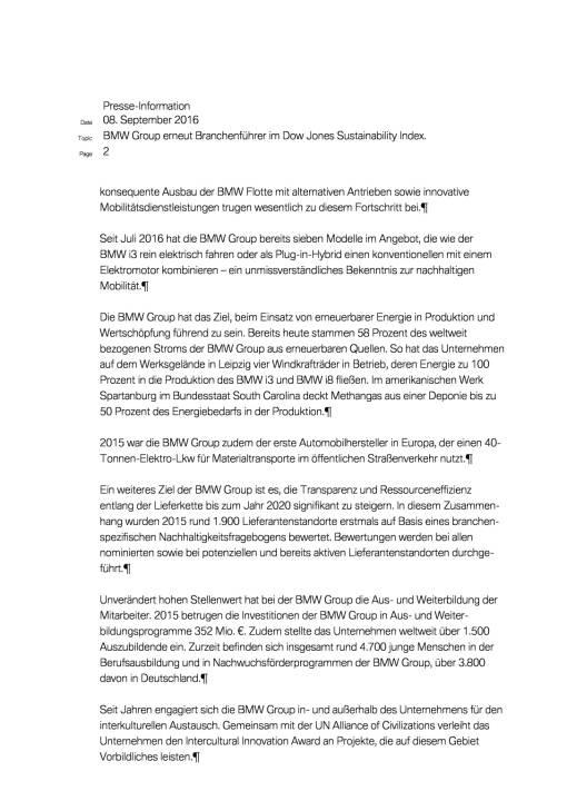 BMW Group erneut Branchenführer im Dow Jones Sustainability Index, Seite 2/3, komplettes Dokument unter http://boerse-social.com/static/uploads/file_1747_bmw_group_erneut_branchenfuhrer_im_dow_jones_sustainability_index.pdf