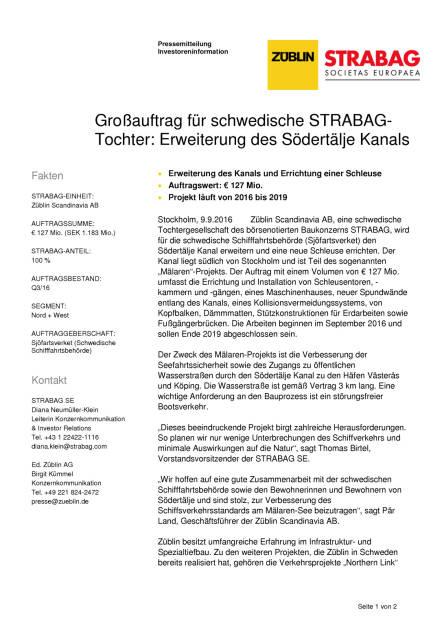 Strabag: Großauftrag für schwedische Tochter Züblin Scandinavia AB, Seite 1/2, komplettes Dokument unter http://boerse-social.com/static/uploads/file_1753_strabag_grossauftrag_fur_schwedische_tochter_zublin_scandinavia_ab.pdf (09.09.2016)