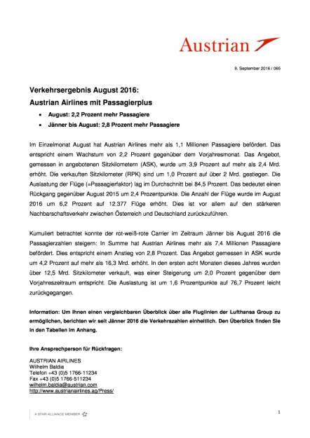 Austrian Airlines: Verkehrsergebnis August 2016, Seite 1/3, komplettes Dokument unter http://boerse-social.com/static/uploads/file_1754_austrian_airlines_verkehrsergebnis_august_2016.pdf (09.09.2016)
