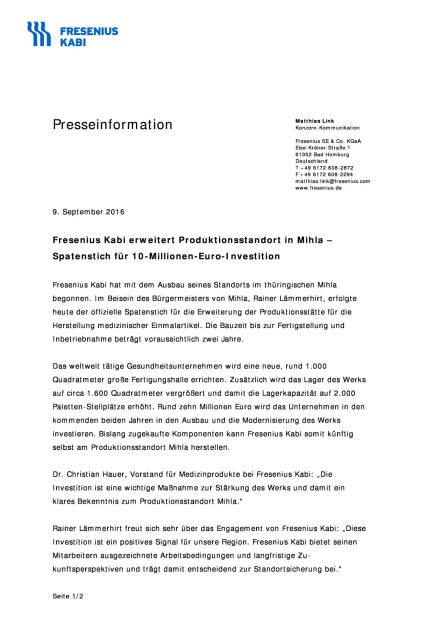 Fresenius Kabi: Produktionsstandort Mihla, Seite 1/2, komplettes Dokument unter http://boerse-social.com/static/uploads/file_1757_fresenius_kabi_produktionsstandort_mihla.pdf (09.09.2016)