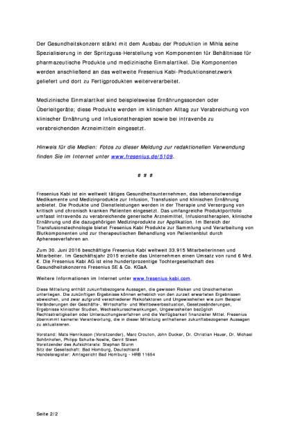 Fresenius Kabi: Produktionsstandort Mihla, Seite 2/2, komplettes Dokument unter http://boerse-social.com/static/uploads/file_1757_fresenius_kabi_produktionsstandort_mihla.pdf (09.09.2016)