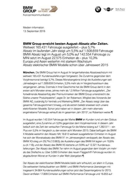 BMW Group: Vertriebsmeldung August 2016, Seite 1/4, komplettes Dokument unter http://boerse-social.com/static/uploads/file_1769_bmw_group_vertriebsmeldung_august_2016.pdf (13.09.2016)