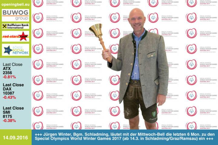 #openingbell am 14.9.: Jürgen Winter, Bürgermeister Schladming, läutet mit der Opening Bell für Mittwoch auch die letzten 6 Monate zu den Special Olympics World Winter Games 2017 (ab 14.3. in Schladming / Graz / Ramsau) ein http://www.austria2017.org http://www.openingbell.eu