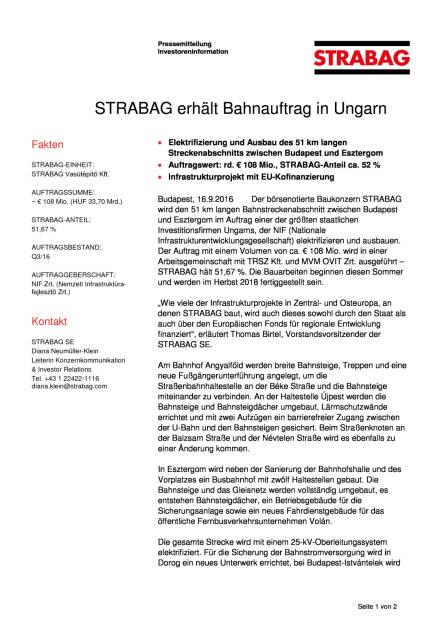 Strabag erhält Bahnauftrag in Ungarn, Seite 1/2, komplettes Dokument unter http://boerse-social.com/static/uploads/file_1777_strabag_erhalt_bahnauftrag_in_ungarn.pdf (16.09.2016)