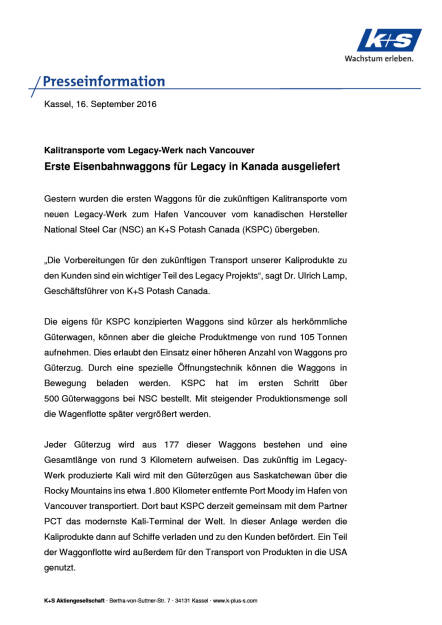 K+S AG: Eisenbahnwaggons für Legacy in Kanada ausgeliefert, Seite 1/2, komplettes Dokument unter http://boerse-social.com/static/uploads/file_1778_ks_ag_eisenbahnwaggons_fur_legacy_in_kanada_ausgeliefert.pdf (16.09.2016)
