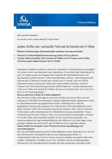 Uniqa: Versicherungen Elektrofahrräder, Seite 1/2, komplettes Dokument unter http://boerse-social.com/static/uploads/file_1781_uniqa_versicherungen_elektrofahrrader.pdf (16.09.2016)
