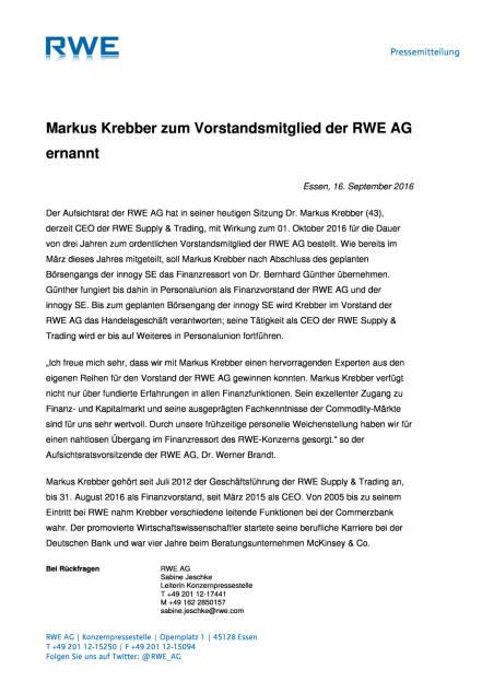 RWE AG: Markus Krebber zum Vorstandsmitglied ernannt, Seite 1/1, komplettes Dokument unter http://boerse-social.com/static/uploads/file_1784_rwe_ag_markus_krebber_zum_vorstandsmitglied_ernannt.pdf (16.09.2016)