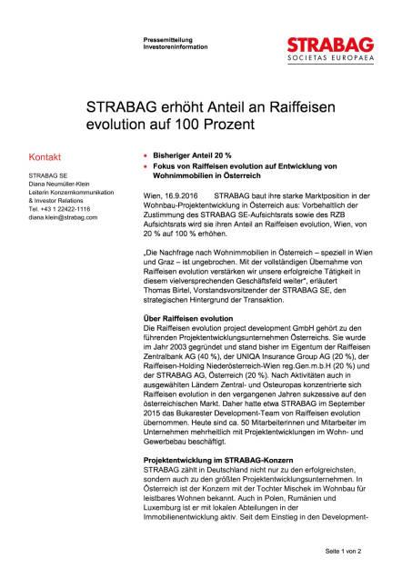 Strabag erhöht Anteil an Raiffeisen evolution auf 100 Prozent, Seite 1/2, komplettes Dokument unter http://boerse-social.com/static/uploads/file_1785_strabag_erhoht_anteil_an_raiffeisen_evolution_auf_100_prozent.pdf (16.09.2016)