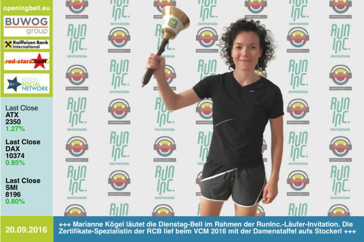 #openingbell am 20.9.: Marianne Kögel läutet die Opening Bell für Dienstag im Rahmen der RunInc.-Läufer-Invitation. Die Zertifikate-Spezialistin der RCB lief beim VCM 2016 mit der Damenstaffel aufs Stockerl, am vergangenen Wochenende war sie fünfbeste Frau beim Halbmarathon am Stubenbergsee, 2. AK, siehe http://photaq.com/page/index/2348 http://www.rcb.at http://www.runinc.at http://www.runplugged.com http://www.openingbell.eu