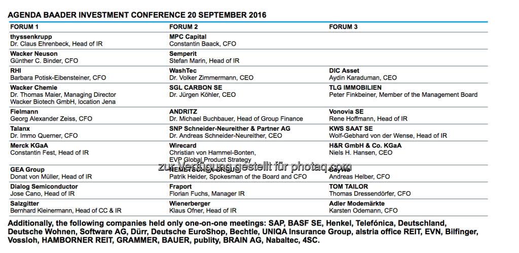 Baader Konferenz in München (21.09.2016)