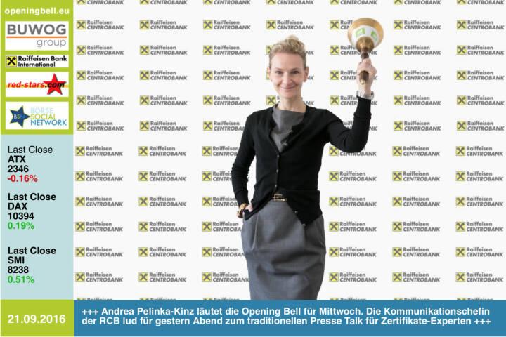 #openingbell am 21.9.: Andrea Pelinka-Kinz läutet die Opening Bell für Mittwoch. Die Kommunikationschefin der RCB lud für gestern Abend zum traditionellen Presse Talk für Zertifikate-Experten http://www.rcb.at http://www.openingbell.eu