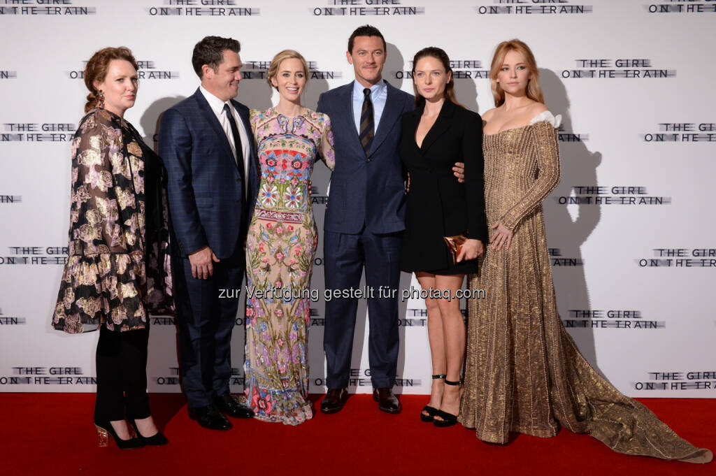 "Paula Hawkins (Autorin), Tate Taylor (Regisseur), Emily Blunt, Luke Evans, Rebecca Ferguson, Haley Bennett : ""Girl on the Train"" - Weltpremiere in London : Fotocredit: obs/Constantin Film/Joanne Davidson/SilverHub, © Aussendung (21.09.2016)"