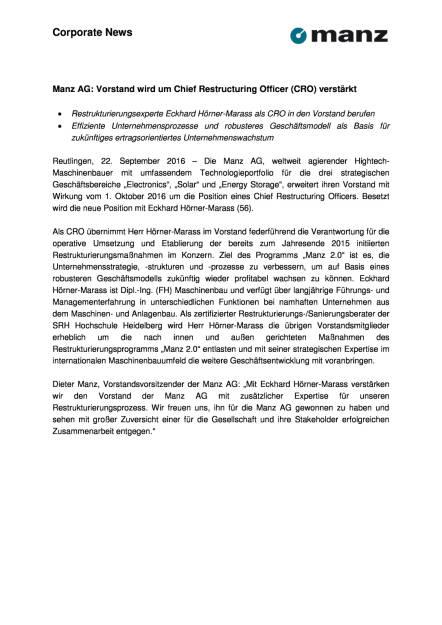 Manz AG: Vorstand wird um Chief Restructuring Officer (CRO) verstärkt, Seite 1/2, komplettes Dokument unter http://boerse-social.com/static/uploads/file_1816_manz_ag_vorstand_wird_um_chief_restructuring_officer_cro_verstarkt.pdf (22.09.2016)