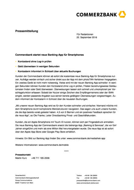 Commerzbank startet neue Banking-App für Smartphones, Seite 1/2, komplettes Dokument unter http://boerse-social.com/static/uploads/file_1817_commerzbank_startet_neue_banking-app_fur_smartphones.pdf (22.09.2016)