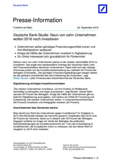 Deutsche Bank-Studie: Neun von zehn Unternehmen wollen 2016 noch investieren, Seite 1/2, komplettes Dokument unter http://boerse-social.com/static/uploads/file_1818_deutsche_bank-studie_neun_von_zehn_unternehmen_wollen_2016_noch_investieren.pdf (22.09.2016)
