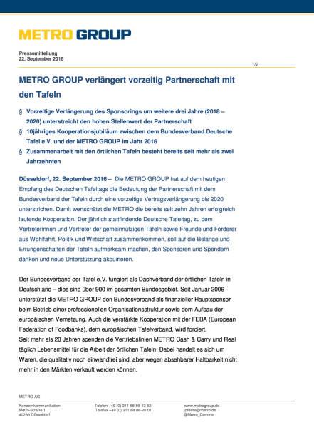 Metro Group: Partnerschaft mit Bundesverband Deutsche Tafel, Seite 1/2, komplettes Dokument unter http://boerse-social.com/static/uploads/file_1819_metro_group_partnerschaft_mit_bundesverband_deutsche_tafel.pdf (22.09.2016)