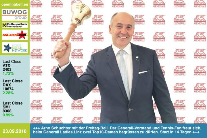 #openingbell am 23.9.: Arno Schuchter mit der Opening Bell für Freitag. Der Generali-Vorstand und Tennis-Fan freut sich, beim Generali Ladies Linz zwei Top10-Damen begrüssen zu dürfen. Start in 14 Tagen http://www.generali-ladies.at https://twitter.com/kapliskova https://twitter.com/carlasuareznava http://www.generali.at http://www.openingbell.eu