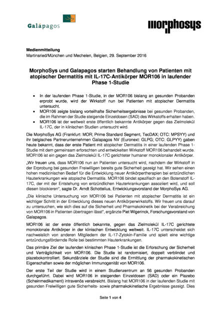 MorphoSys und Galapagos starten Behandlung von Patienten mit atopischer Dermatitis, Seite 1/4, komplettes Dokument unter http://boerse-social.com/static/uploads/file_1843_morphosys_und_galapagos_starten_behandlung_von_patienten_mit_atopischer_dermatitis.pdf