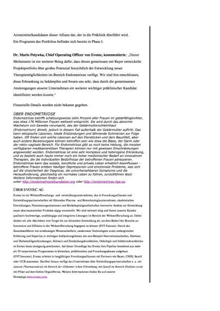 Evotec: Meilenstein in Endometriose-Allianz mit Bayer, Seite 2/3, komplettes Dokument unter http://boerse-social.com/static/uploads/file_1844_evotec_meilenstein_in_endometriose-allianz_mit_bayer.pdf